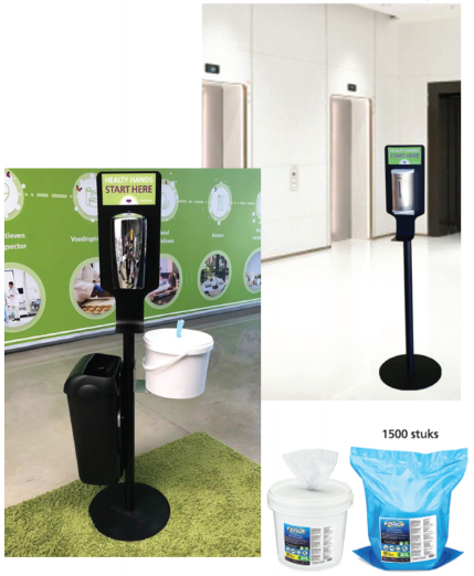 no-touch desinfectie dispenser op paal